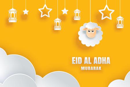 Tarjeta de celebración de Eid Al Adha Mubarak con ovejas en papel arte fondo amarillo. Uso para pancarta, póster, volante, plantilla de venta de folleto. Ilustración de vector