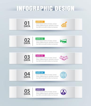 Scheda infografica nell'indice cartaceo orizzontale con 5 modelli di dati. Fondo astratto dell'illustrazione di vettore. Può essere utilizzato per il layout del flusso di lavoro, passaggio aziendale, banner, web design.