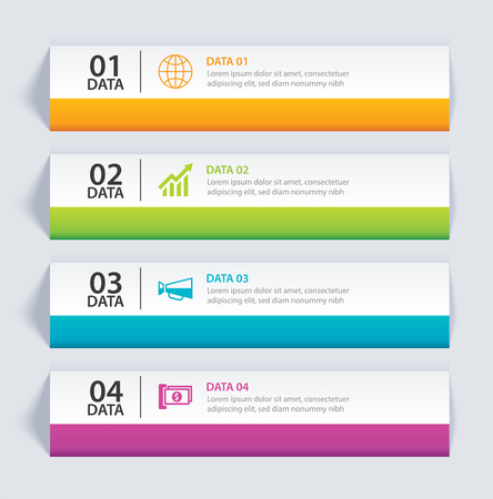 Infographics tab in horizontal paper index with 4 data template. Vector illustration abstract background. Can be used for workflow layout, business step, banner, web design.
