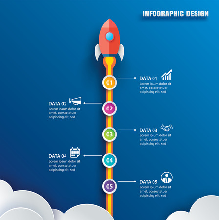 Startup infographics with 5 circle vertical data template. Vector illustration abstract rocket paper art on blue background. Can be used for planning, strategy, workflow layout, business step, banner, web design. 矢量图像