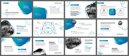 Presentatie en dia-layout achtergrond. Ontwerpsjabloon blauw en groen verloop geometrische. Gebruik voor zakelijk jaarverslag, flyer, marketing, folder, reclame, brochure, moderne stijl.