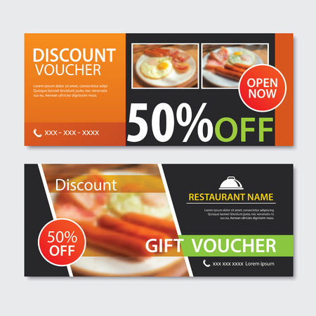 Discount voucher breakfast template design. Set of fried egg, bacon,  sausage. 版權商用圖片 - 107624624