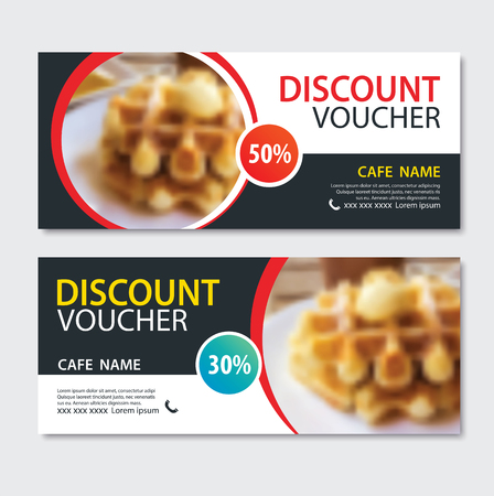 Discount voucher dessert waffle in template design. Иллюстрация