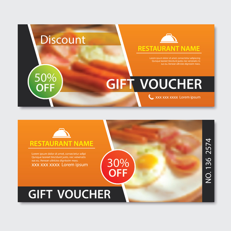 Discount voucher breakfast template design. Set of fried egg, bacon,  sausage. 免版税图像 - 107624625