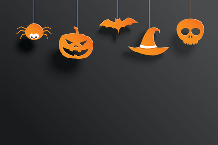 Halloween orange paper hanging in dark background. Use for greeting card, flyer, party, banner, poster, vector illustration.