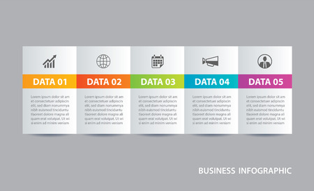 Infographics tab in horizontal paper index with 5 data template. Vector illustration abstract background. Can be used for workflow layout, business step, banner, web design. Vektoros illusztráció