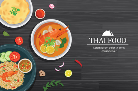 Tom yum kung in the bowl on black wood table top view. Thailand set food background. Illustration