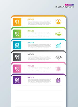 Index de papier à onglet infographie avec 6 modèles de données. Illustration vectorielle abstrait pour ordinateur portable. Peut être utilisé pour la mise en page du flux de travail, l'étape commerciale, la bannière, la conception Web.