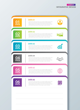 Infographics tab paper index with 6 data template. Vector illustration abstract notebook background. Can be used for workflow layout, business step, banner, web design.