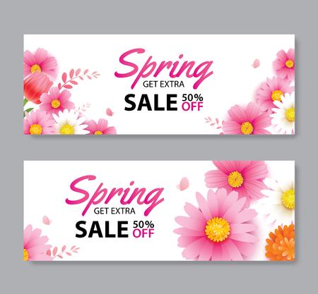 Banner de vale de venta de primavera con plantilla de fondo de flores florecientes. Diseño para publicidad, volantes, carteles, folletos, invitaciones, portada de descuento. Ilustración de vector