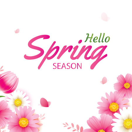 Hello spring greeting card and invitation with blooming flowers background template. Design for decor, flyers, posters, brochure, banner. Illustration