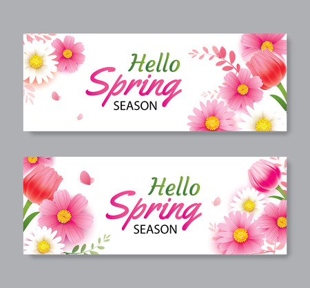 Hello spring greeting card and invitation with blooming flowers background template. Design for cover, flyers, posters, brochure, banner.