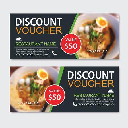 Discount gift voucher asian food template design. Noodles set. Use for coupon, banner, flyer, sale, promotion. Illustration