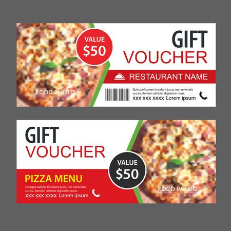 Buono sconto regalo modello fast food design. Insieme della pizza. Utilizzare per coupon, banner, volantini, saldi, promozioni. Vettoriali