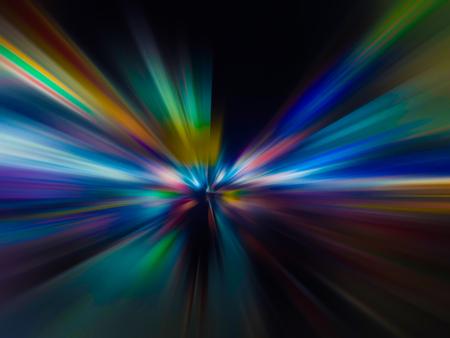 Abstracte snelheid bewegingsonscherpte in de stad op nachtweg en neonlicht.