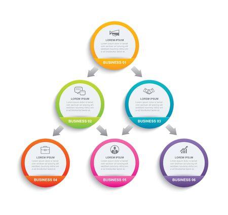 Papier de cercle d'infographie avec 6 modèles de données. Abstrait illustration vectorielle. Peut être utilisé pour la mise en page du flux de travail, l'étape commerciale, la brochure, les dépliants, la bannière, la conception Web. Vecteurs
