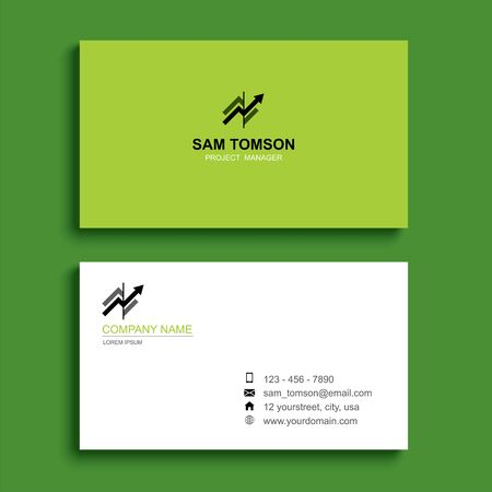Minimal business card print template design. Green color and simple clean layout. Çizim