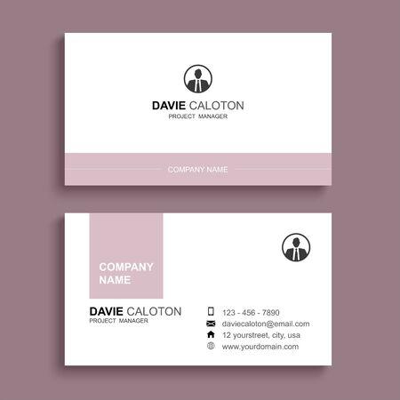 Diseño de plantilla de impresión de tarjeta de visita mínima. Color rosa pastel y diseño sencillo y limpio.