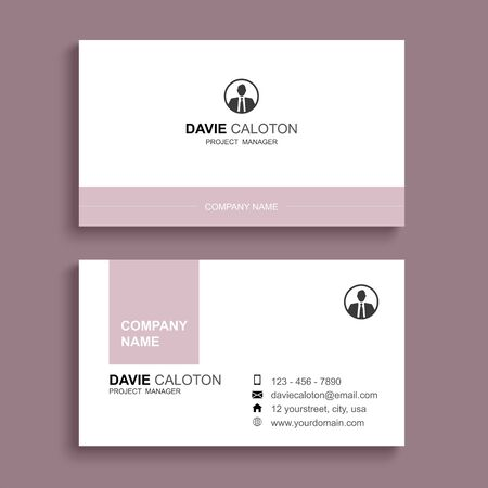 Minimal business card print template design. Pastel pink color and simple clean layout.