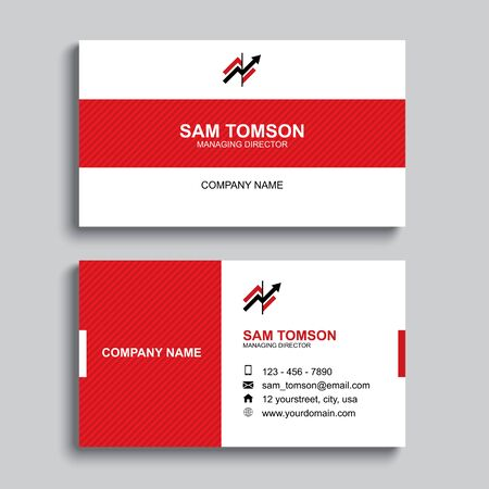 Minimal business card print template design. Red color and simple clean layout.