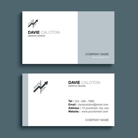 Minimal business card print template design. Gray pastel color and simple clean layout.