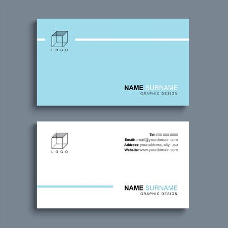 Minimal business card print template design. Blue pastel color and simple clean layout.