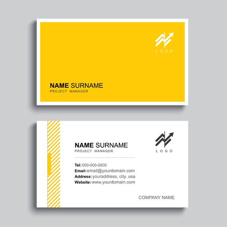 Minimal business card print template design. Yellow pastel color and simple clean layout. Çizim