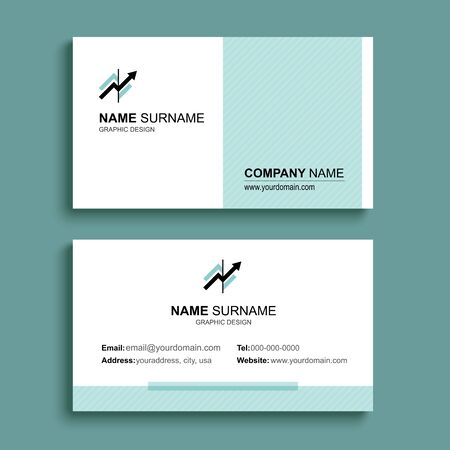 Minimal business card print template design. Green pastel color and simple clean layout.