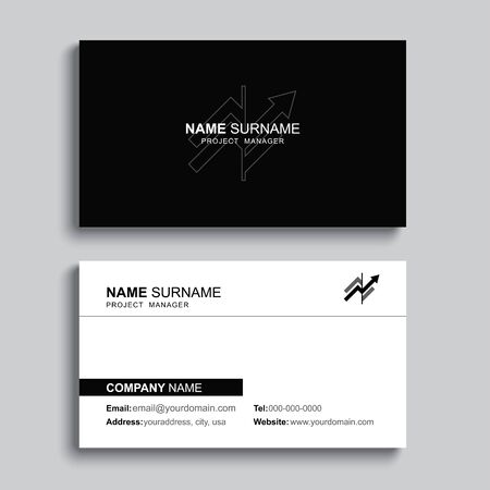 Minimal business card print template design. Black color and simple clean layout. Çizim