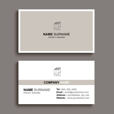 Minimal business card print template design. Brown pastel color and simple clean layout.