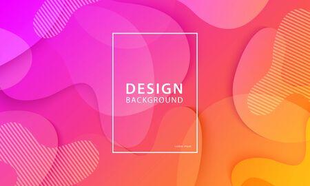 Fluid shape banner design background. Liquid geometric orange and pink gradient template. Foto de archivo