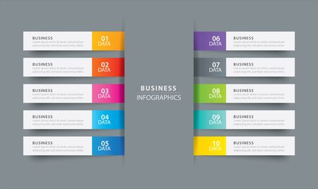 Infographics tab index in horizontal paper index with 10 data template. Vector illustration abstract background. Can be used for workflow layout, business step, banner, web design.