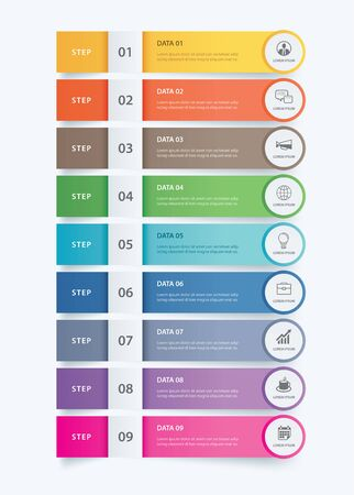 9 data Infographics tab paper index template. Vector illustration abstract background. Can be used for workflow layout, business step, banner, web design. Stockfoto