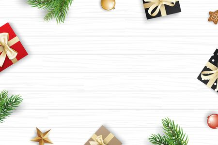 Christmas frame with copy space for text on white wooden background. Vector illustration decoration with fir branches and gift. Use for greeting card, banner, web cover.