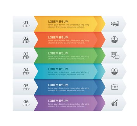 6 danych Infografiki szablon strzałki papieru zakładki. Wektor ilustracja streszczenie tło. Może być używany do układu przepływu pracy, kroku biznesowego, banera, projektowania stron internetowych.