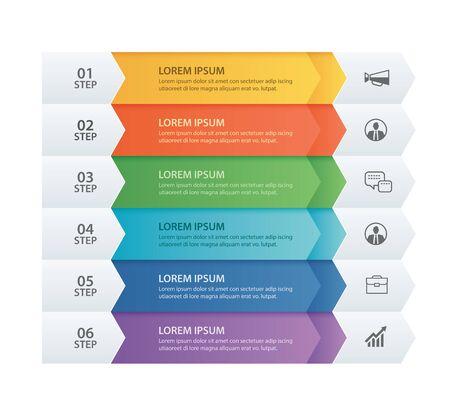 6 dati Infografica scheda modello freccia carta. Fondo dell'estratto dell'illustrazione di vettore. Può essere utilizzato per il layout del flusso di lavoro, passaggio aziendale, banner, web design.