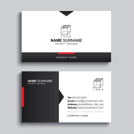 Conception de modèle d'impression de carte de visite minimale. Disposition simple et propre de couleur noire et rouge. Vecteurs