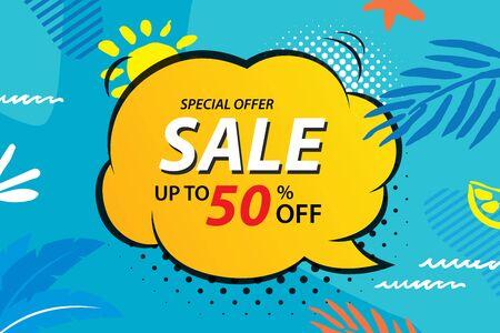 Summer sale emails and banners templates. Vector illustrations for website, posters, brochure, voucher discount, flyers, newsletter designs, ads, promotional background. Illusztráció