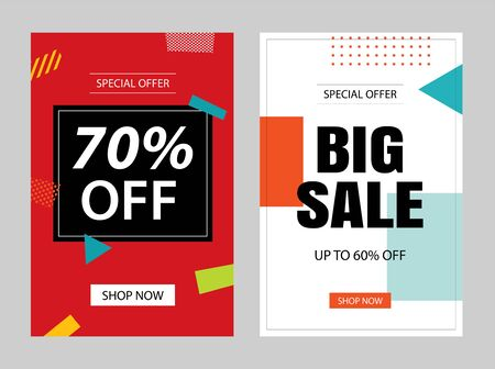 Set of sale banner templates. Vector illustrations for posters, mobile shopping, email and newsletter designs, ads.