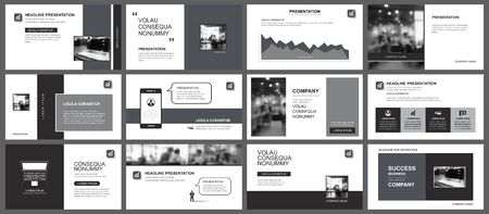 Presentation and slide layout template. Design black and gray geometric background. Use for business annual report, flyer, marketing, leaflet, advertising, brochure, modern style. Imagens