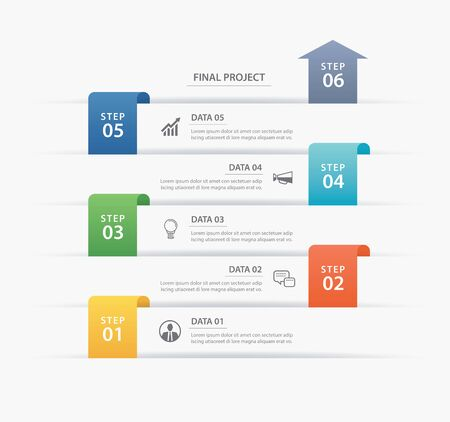 6 data infographics timeline tab paper index template. Vector illustration abstract background. Can be used for workflow layout, business step, banner, web design. Ilustração