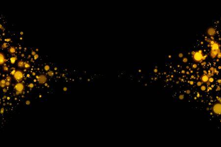Particules abstraites de bokeh léger scintillant d'or sur fond sombre. Banque d'images