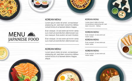 japanese food menu restaurant on a white wooden table top template background. Use for poster, print, flyer, brochure.