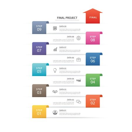 9 data infographics timeline tab paper index template. Vector illustration abstract background. Can be used for workflow layout, business step, banner, web design.