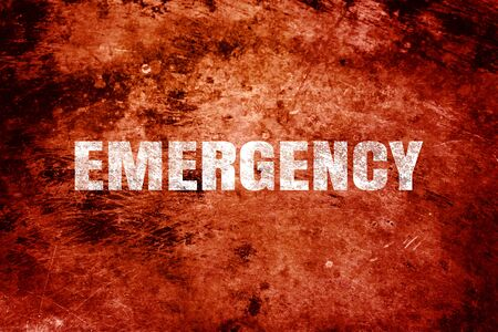 Emergency white text on red background. Stock fotó