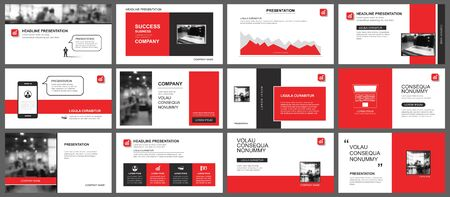 Modèle de présentation et de mise en page des diapositives. Concevoir un fond géométrique rouge. Utilisation pour le rapport annuel d'entreprise, le dépliant, le marketing, le dépliant, la publicité, la brochure, le style moderne. Banque d'images