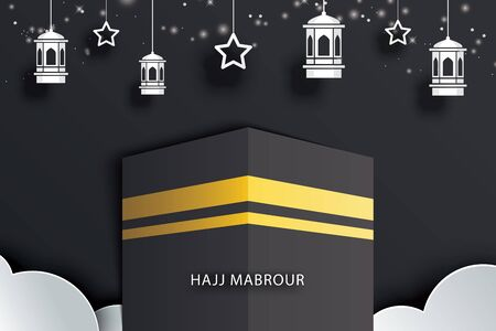 Islamic pilgrimage hajj mabrour background greeting card or banner.