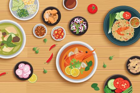 Thai food and ingredient on a wooden background. Vecteurs