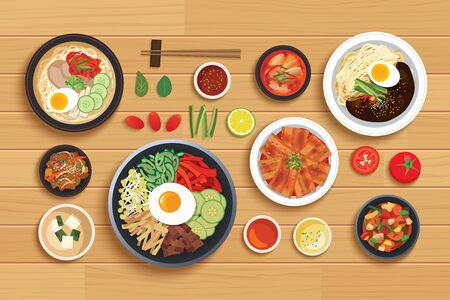 korean food set on top view wooden table background.