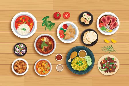 halal food set on top view wooden table background.